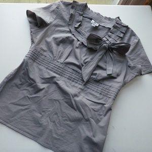 Gray w/ Black Pinstripes Formal Blouse